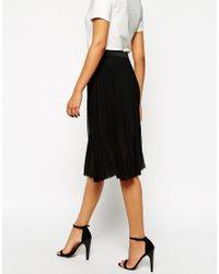 AX Paris   Black Pleated Chiffon Midi Skirt   Lyst