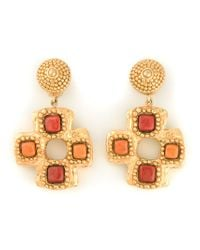 Christian Lacroix | Red Stone Cross Clip-On Earrings | Lyst