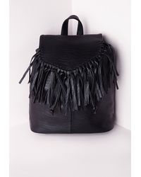 Missguided | Tassel Trim Classic Backpack Black | Lyst