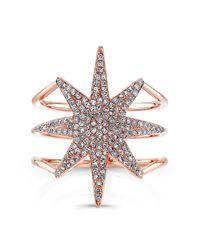 Anne Sisteron | Pink 14kt Rose Gold Diamond Star Ring | Lyst