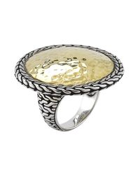 John Hardy - Metallic Pre-Owned: Sterling Silver And 22K Yellow Gold Hammered Large Round Ring - Lyst