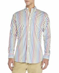 Gitman Bros - Multicolor Rainbow Stripe Button-Down Shirt for Men - Lyst