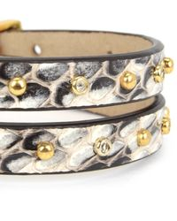 Juicy Couture | Brown Watersnake Studded Leather Double Wrap Bracelet | Lyst