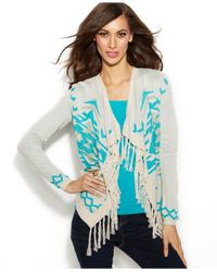 INC International Concepts - Blue Printed Fringed Cardigan - Lyst