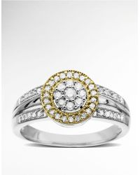 Lord & Taylor | Metallic Diamond Ring In Sterling Silver With 14k Yellow Gold | Lyst