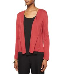 Eileen Fisher | Red Silk Organic Cotton Interlock Angled Jacket | Lyst