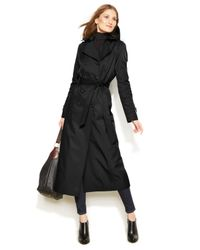 DKNY | Black Hooded Double-breasted Maxi Trench Coat | Lyst