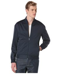 Perry Ellis | Blue Full-zip Neoprene Bomber Jacket for Men | Lyst