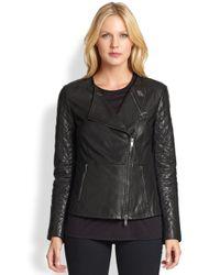DKNY - Black Leather Moto Jacket - Lyst