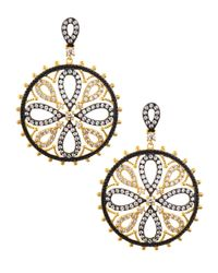 Freida Rothman - Metallic Cz Pave Floral Medallion Earrings - Lyst