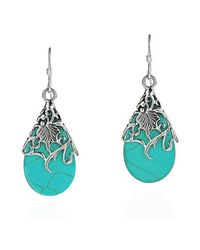 Aeravida | Blue Floral Vine Ornate Teardrop Turquoise .925 Silver Earrings | Lyst