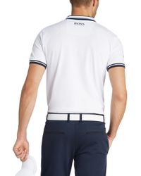 BOSS Green - White Slim Fit Golf Polo Shirt 'paule Pro' With Moisture Manager for Men - Lyst