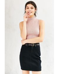 Silence + Noise - Pink Marled Mock-neck Tank Top - Lyst