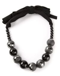 Armani - Black Beaded Necklace - Lyst