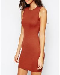 ASOS | Brown Sleeveless Rib Bodycon Mini Dress | Lyst