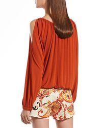 Gucci - Orange Jersey Cold Shoulder Top - Lyst