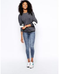 ASOS - Gray Boyfriend Sweat With Stripe Sleeve - Lyst