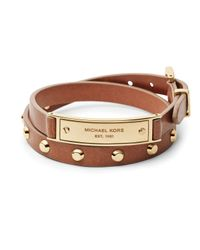 Michael Kors | Brown Logo Plaque Leather Wrap Bracelet | Lyst