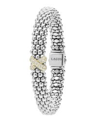 Lagos | Metallic Silver Caviar Bracelet With 18k Diamond X | Lyst