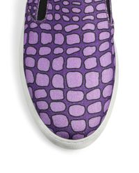 Boutique Moschino - Purple Betty Croc-print Canvas Slip-on Sneakers - Lyst
