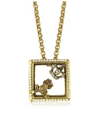 Alcozer & J | Metallic Gemstone, Gold Plated Brass Little Frog And Crown Necklace | Lyst
