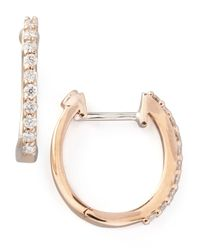 Roberto Coin | Metallic 18K Rose Gold Diamond Baby Hoop Earrings | Lyst