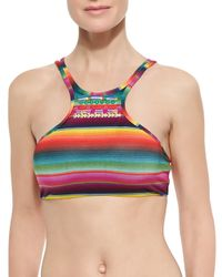 Pilyq - Multicolor Striped Embroidered Halter Swim Top - Lyst