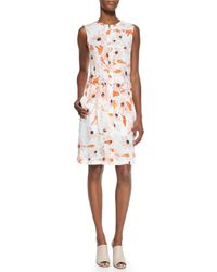 Theory - Multicolor Linigole Floral-print Belted Dress - Lyst