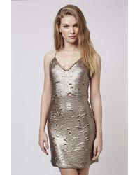 TOPSHOP | Metallic Brushed Bronzed Sequin Dress | Lyst