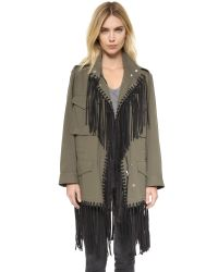 Alexander Wang - Green Parka With Fringe - Lyst