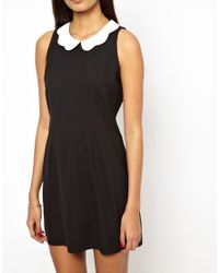 Glamorous - Black Shift Shirt Dress with Scallop Collar - Lyst