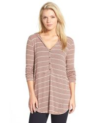 Lush | Brown Stripe Hooded Henley Top | Lyst