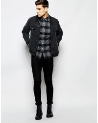 ASOS | Black Check Shirt In Heavyweight With Long Sleeves for Men | Lyst