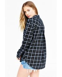 BDG - Black Olly Checked-Print Flannel Shirt - Lyst