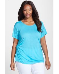 Ellen Tracy - Blue Beaded Neck Side Twist Tee - Lyst