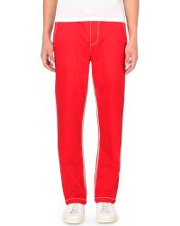 True Religion | Red Contrast Stitched Jogging Bottoms for Men | Lyst