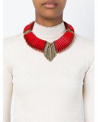 Sveva Collection - Red Embellished Choker Necklace - Lyst