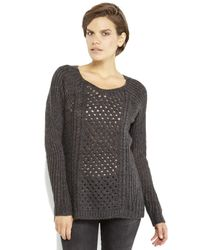Dex - Gray Open Stitch  Cable Knit Hi-low Tunic Sweater - Lyst