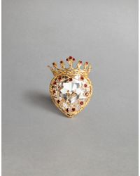 Dolce & Gabbana | Metallic Heart Crown Ring | Lyst