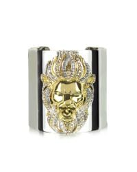 Roberto Cavalli | Metallic Lion Metal And Crystals Cuff | Lyst