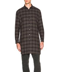 Robert Geller - Gray Long Plaid Button Up - Lyst