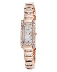 Bulova - Pink Women's Crystal Rose-tone Stainless Steel Mother Of Pearl Rectangle Dial - Lyst