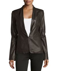 Halston - Black Knit-panel Leather Blazer - Lyst