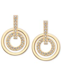 Swarovski | Metallic Gold-tone Pavè Crystal Circle Drop Earrings | Lyst