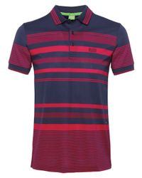 BOSS Green | Blue Paddy 1 Striped Polo Shirt for Men | Lyst