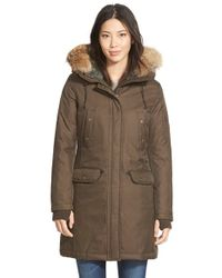 Spiewak | Brown 'aviation N3b' Genuine Coyote Fur & Faux Shearling Trim Down Parka | Lyst