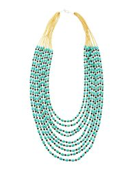 Panacea - Blue Turquoise & Crystal Multi-Strand Necklace - Lyst