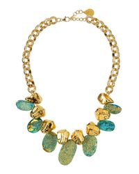 Devon Leigh | Metallic Blue Druzy Golden Nugget Necklace | Lyst