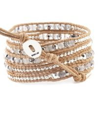 Chan Luu | Brown Grey Cloudy Quartz Mix Wrap Bracelet On Beige Leather | Lyst