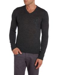 Armani Jeans - Gray V Neck Monogram Aj Logo Jumper for Men - Lyst